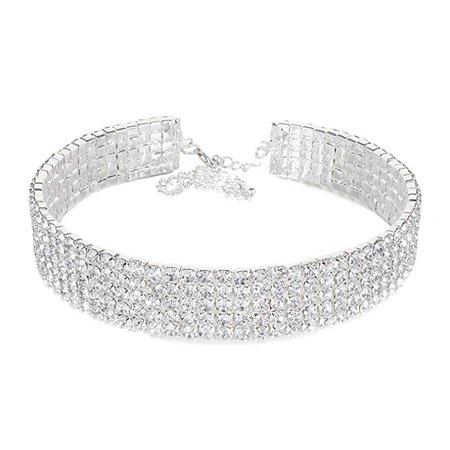 Amazon.com: Janefashions 5-row Clear Austrian Rhinestone Crystal Choker Necklace Party Wedding Prom N060 Silver: Jewelry