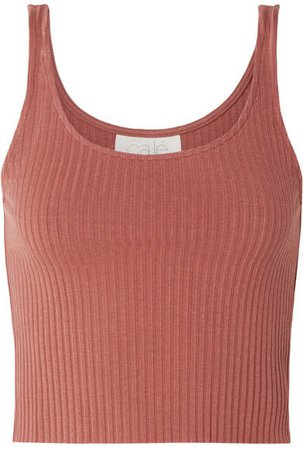 calé - Gigi Ribbed Stretch-knit Tank - Antique rose