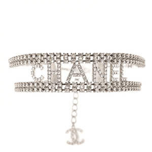 CHANEL Crystal CC Logo Choker Necklace Silver
