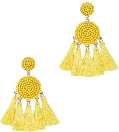 Amazon.com: XOCARTIGE Tassel Earrings Thread Fringe Chandelier Drop Dangle Earrings Bohemia Beaded Disc Stud Earring for Women(Yellow): Clothing