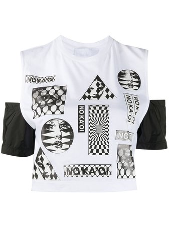 Shop white No Ka' Oi graphic print cropped top with Express Delivery - Farfetch