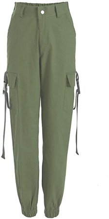 RUEWEY Women High Waist Hip Hop Dance Tapered Cargo Jogger Pants Trousers Harem Baggy Jogging Sweatpants (S, Camo Green) at Amazon Women's Clothing store