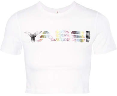 Cropped Crystal-embellished Stretch-cotton Jersey T-shirt - White