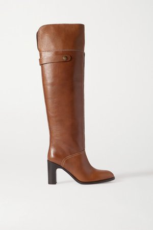 Leather Over-the-knee Boots - Tan