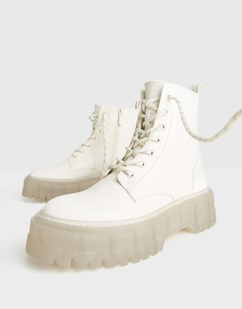 Platform ankle boots with track sole - New - Bershka United States