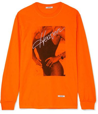 BLOUSE - Double Heaven Printed Cotton-jersey Top - Orange