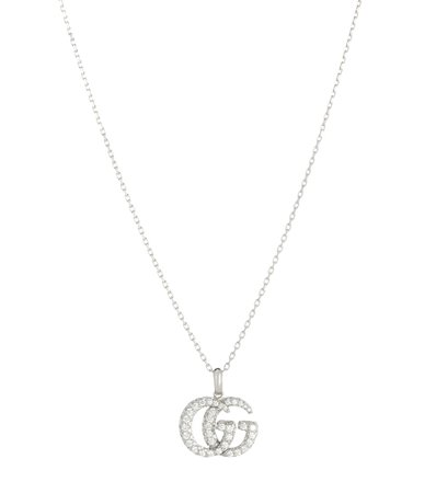 Double G 18Kt White Gold And Diamond Necklace | Gucci - mytheresa.com