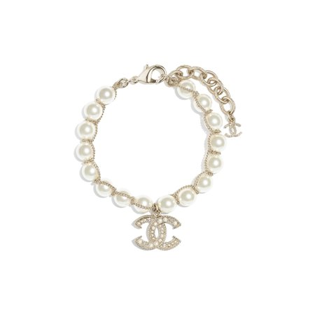 Metal, glass pearls, glass, strass & resin Gold, Pearly White & Crystal Bracelet | CHANEL