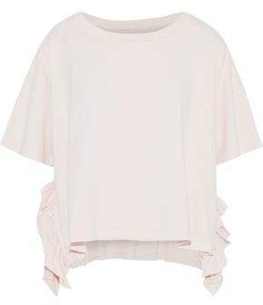 The Side Slit Ruffle-trimmed Cotton-jersey T-shirt