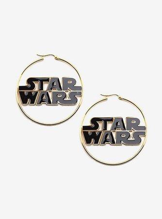 Star Wars Logo Gold IP Hoop Earrings