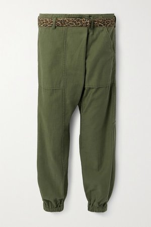Belted Cotton Tapered Pants - Army green