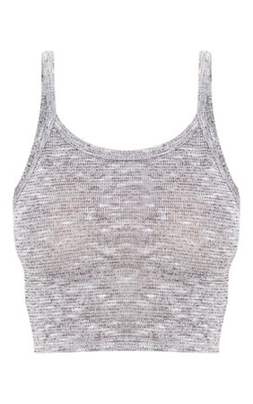 Grey Strappy Knitted Vest   Knitwear   PrettyLittleThing