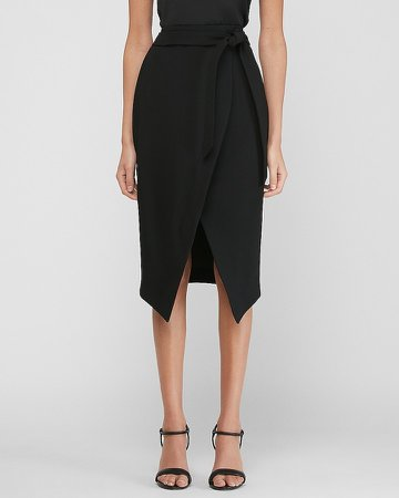 High Waisted Belted Wrap Front Pencil Skirt