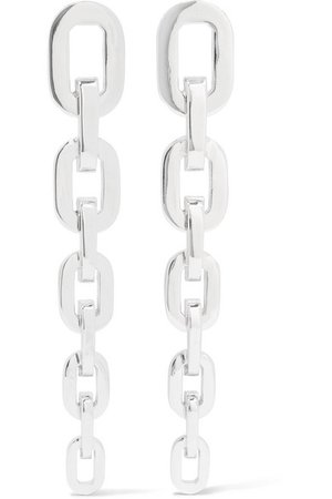 Jennifer Fisher | Chain Link silver and rhodium-plated earrings | NET-A-PORTER.COM