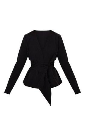 Black Puff Sleeve Belt Detail Blazer | PrettyLittleThing