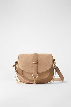 SUEDE OVAL CROSSBODY BAG - BEST SELLERS-WOMAN | ZARA United States cream