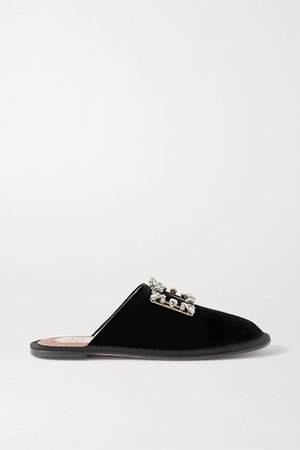Hotel Vivier Crystal-embellished Velvet Slippers - Black