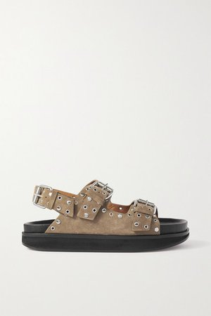 Ophie Embellished Suede Sandals - Taupe