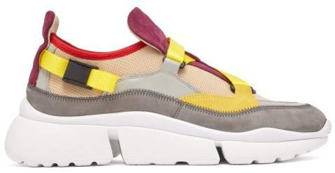 Sonnie Raised Sole Low Top Leather Trainers - Womens - Yellow Multi