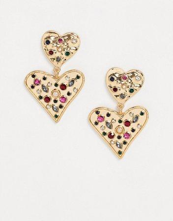 Accessorize encrusted jewel heart earrings in gold   ASOS