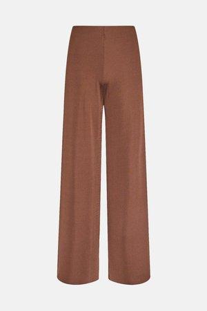 Lounge Rib Wide Leg Jersey Trousers | Karen Millen