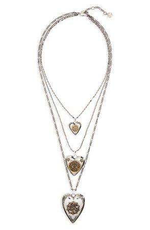 Alexander McQueen Triple Layer Heart Locket Necklace | Nordstrom