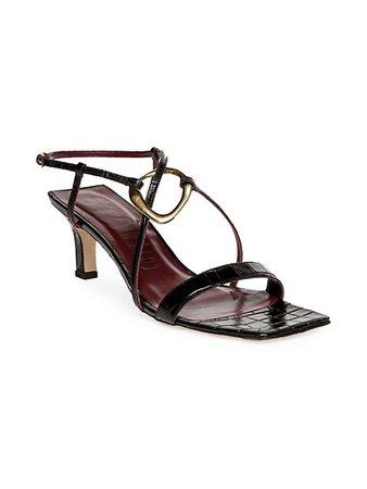 Staud Bijoux Croc-Embossed Leather Sandals   SaksFifthAvenue