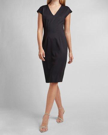 Pleated V-Neck Sheath Dress