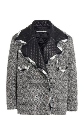Alessandra Rich Sequin Tweed Blouson With Leather Quilted Collar
