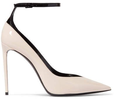 Zoe Two-tone Patent-leather Pumps - Ivory