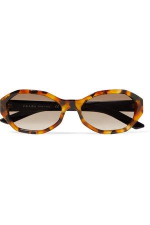 Prada | Hexagon-frame tortoiseshell acetate sunglasses | NET-A-PORTER.COM
