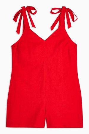 Red Tie Shoulder Playsuit   Topshop