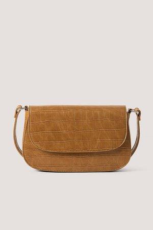 Croco Look Shoulder Bag Brown | na-kd.com