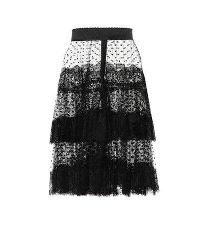 Dolce & Gabbana - Lace-trimmed tulle skirt | Mytheresa