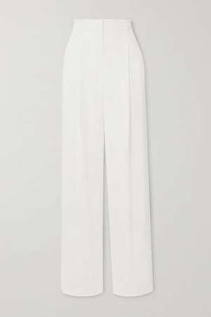 Notting Hill Pleated Crepe Wide-leg Pants - Off-white