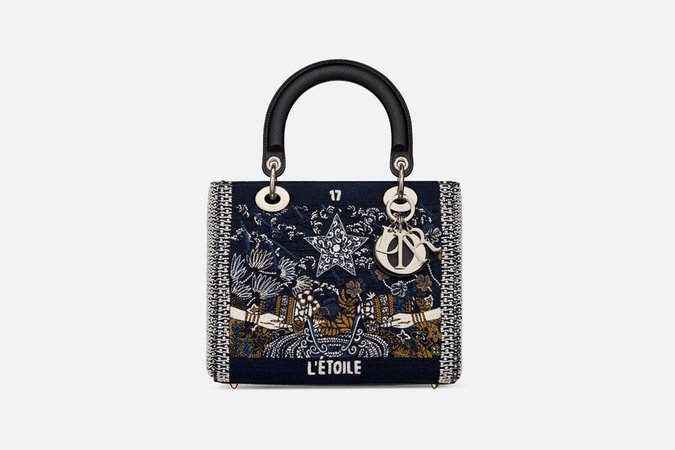 Stars Lady Dior Medium Tarot Beaded Canvas Bag - Bags - Women's Fashion | DIOR