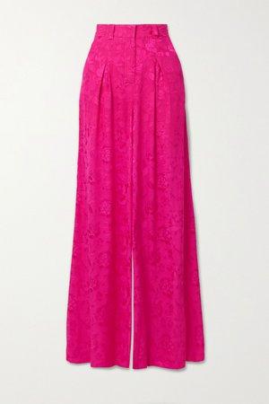 Fuchsia Serge floral-jacquard wide-leg pants   STAUD   NET-A-PORTER