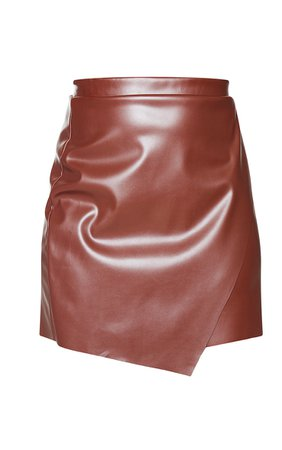 Chocolate Faux Leather Wrap Mini Skirt | PrettyLittleThing USA