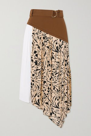 Belted Asymmetric Paneled Crepe Midi Skirt - Brown