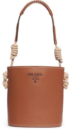 Woven Top Handle Leather Bucket Bag