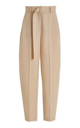Taavi Belted Wool Twill Wide-Leg Pants By Joseph   Moda Operandi