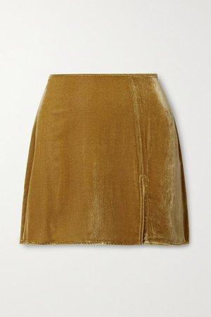 Cleo Velvet Mini Skirt - Saffron