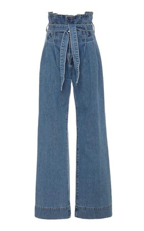 Galileo Tie-Front High Rose Wide Leg Jeans