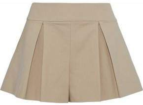 Pleated Cotton-blend Cady Shorts