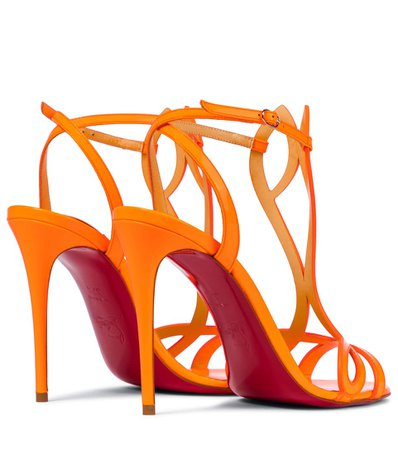Christian Louboutin - Double L 100 patent leather sandals | Mytheresa