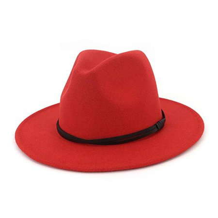 Autumn Winter Wool Men Black Red Fedora Hat Gentleman Wide Brim Top Jazz Elegant Women Hats for Church Cap at Amazon Men's Clothing store