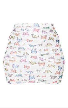 White Butterfly Mesh Printed Mini Skirt   PrettyLittleThing