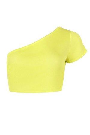 Petite Rib One Shoulder Short Sleeve Crop Top | boohoo yellow
