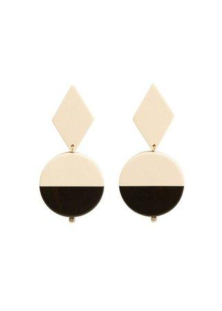 MANGO Bicolor resin earrings
