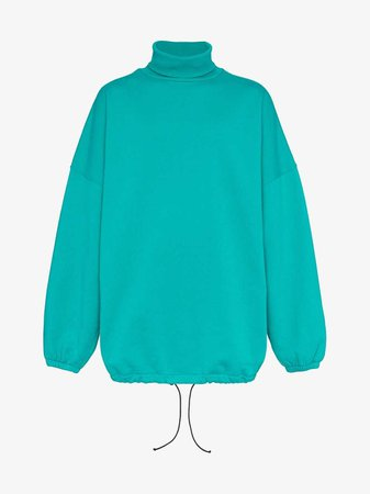 Balenciaga Oversized Turtleneck Cotton Blend Sweatshirt
